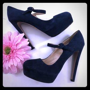 Prada Milano Blue Suede Platform Stiletto Heels